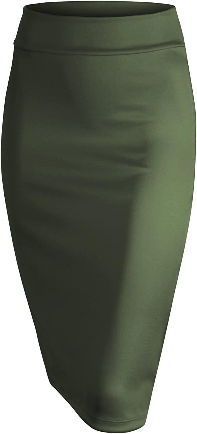 Made by Johnny WB700 Womens Scuba Midi Skirt XL Olive
