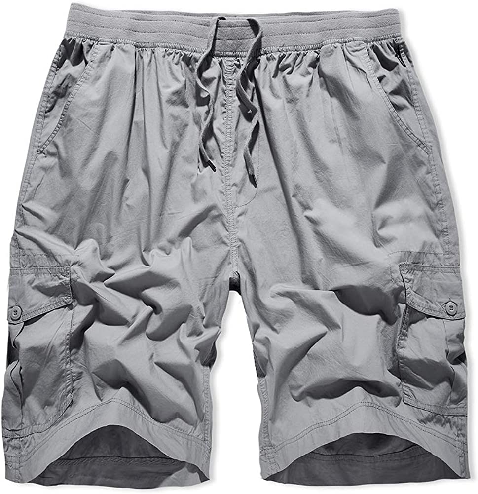 XIONG TAI Men's Cargo Shorts Elastic Waist Big and Tall Loose Fit Multi-Pockets with Drawstring Outdoor Casual Shorts
