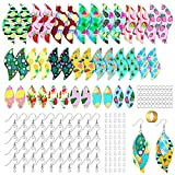 20 Pairs Pre-Cut Fruit Faux Leather Earring Making Kit Summer Earrings Leaf Earring Summer Fruit Watermelon Pattern Fabric with Earring Hooks Jump Rings and Ear Plugs for DIY Earring Craft Making