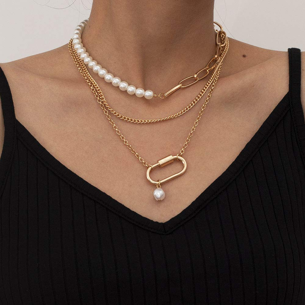 Denifery Bohemia Layered Choker Necklace Pearl Necklace Charm Pendant Choker Chunky Link Chain Dancing Party Travel Costume Jewelry for Women and Girls (Gold A)