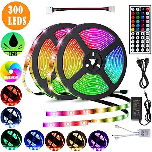 Led Strip Lights 328ft RGB Waterproof Strip Lights 300 LEDs Color Changing Led Strip Lights with 44 Keys IR Remote and 12V Power Supply for Bedroom TV Home DIY Decoration