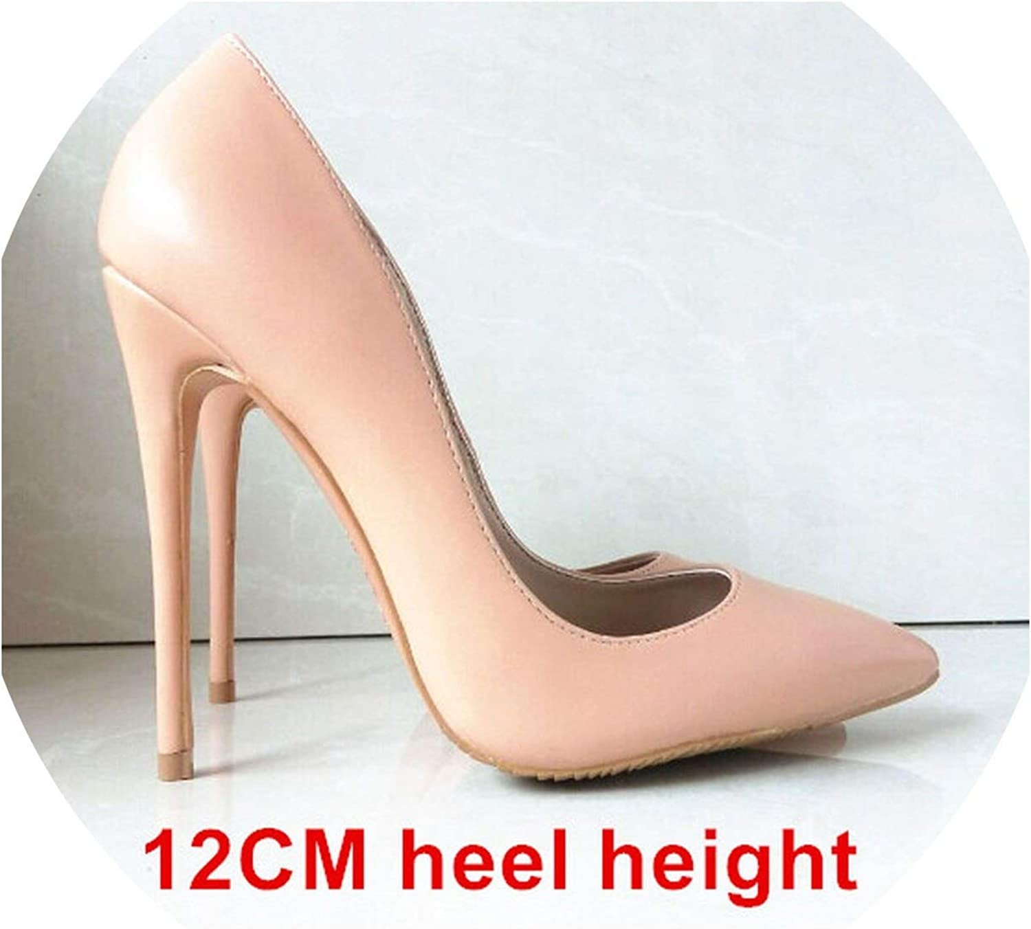 Heeled-Sandalsshoes Woman High Heels Women shoes Pumps Stilettos shoes for Women Black High Heels 12Cm Pu Leather Wedding shoes,Nude 12Cm Heel,6.5