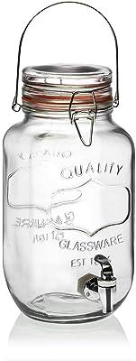 Versa 21250002 Barril 3,7 litros Cristal con Grifo, Natural, 19x14.5x30 cm