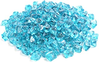 """Mr. Fireglass 1/2"""" Polygon Fire Glass for Natural or Propane Fire Pit,Fireplace and Fire Table,10 lb,Aqua Blue"""