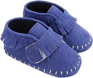 DZT1968 Baby Uni Newborn Tassel Crib Soft Sole Hook & LooShoe Sneakers (Age:6~12 Month, Blue)