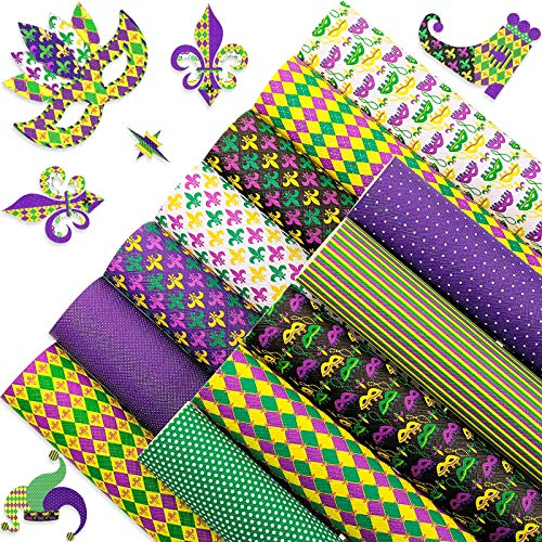 12 Pieces Mardi Gras Faux Leather Sheets Fat Tuesday Synthetic Leather Fabric Sheet Mardi Gras Theme Patterns Printed Faux Leather Sheet for Earrings Hair Bows DIY Crafts, 8.3 x 6.3 Inch