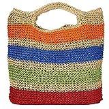 JIEIIFAFH Crochet la Playa del Verano Bolsas de Colores Bolsa de Paja con borlas Mujeres viajan Hecha a Mano Bolsos La Bolsa de Asas (Color : Colorful)