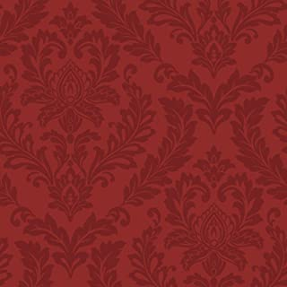 York Wallcoverings Bright's Red Damask Removable Wallpaper, Purples