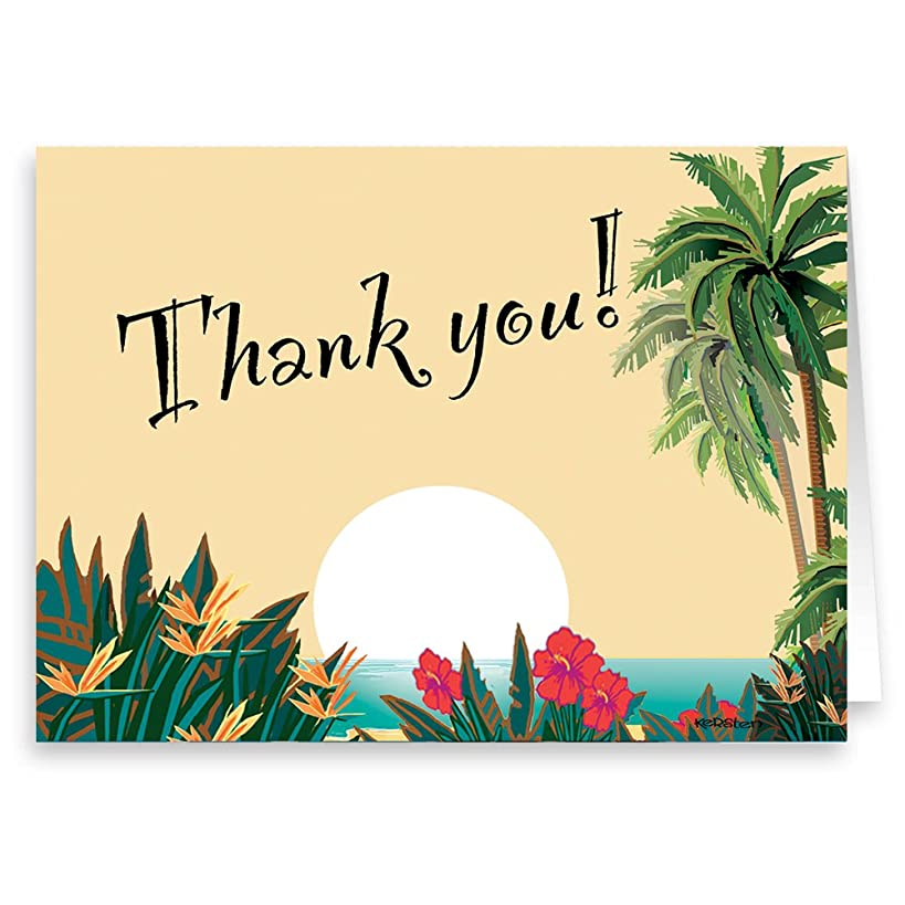 18 Boxed Thank You Note Card - Hawaiian Sunset - Tropical Thank You