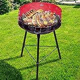 Bakaji Barbecue a Carbone Carbonella BBQ Grill Cottura su 2 Livelli in Metallo con Paravento Griglia Rotonda Diametro 33 cm Terrazzo Giardino