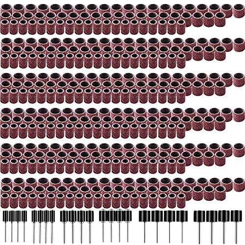 Juego de lijadoras de tambor de 384 piezas que incluye fundas de banda de lijado de uñas de 360 piezas y mandriles de tambor de 24 piezas para herramienta rotativa, como se muestra