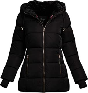 Women's Nylon Puffer Bubble Jacket with Fur Lined Oversized Hood