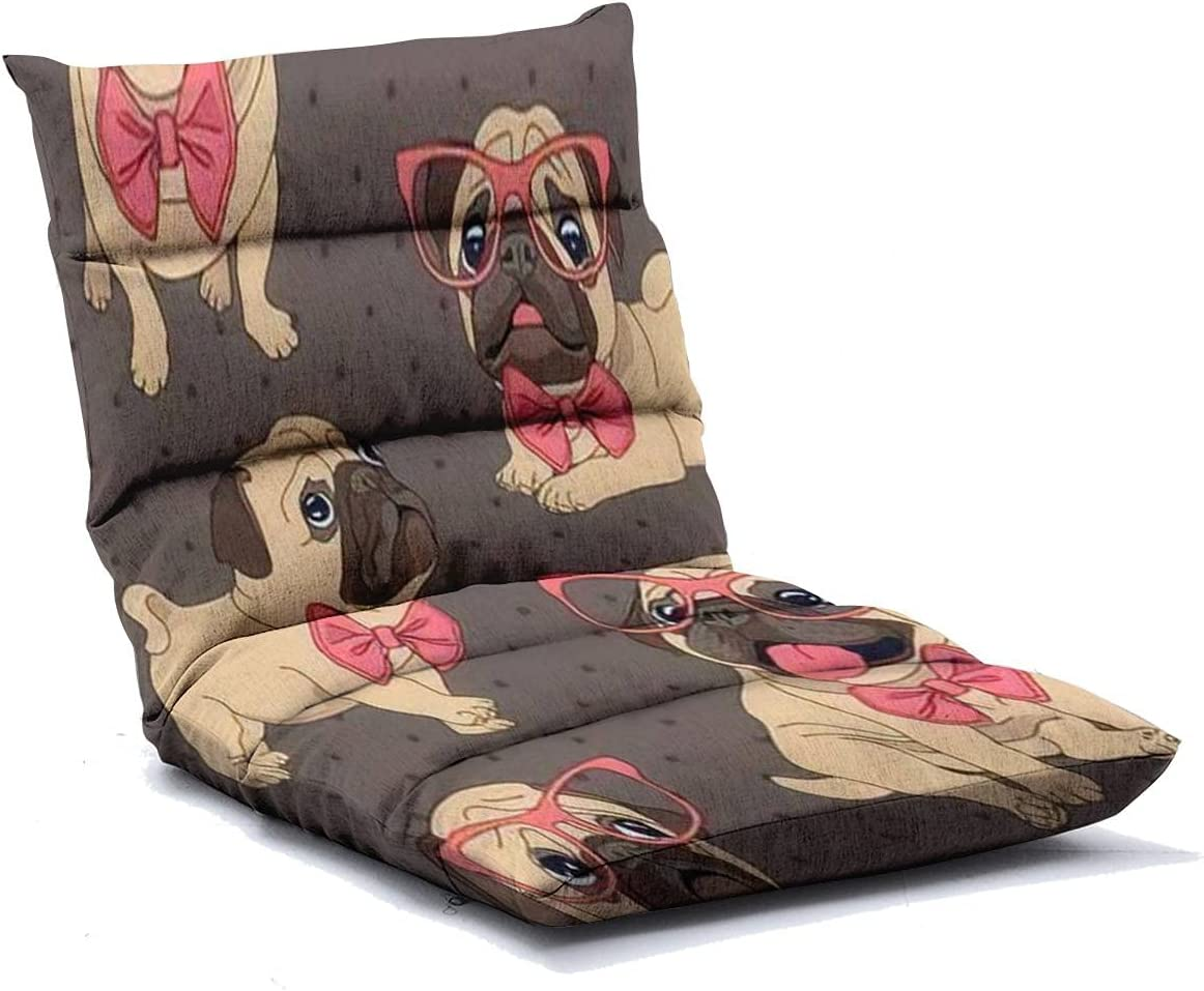 Floor Lounger Max 84% OFF Seamless Pattern Low price with Cartoon Glass Puppy Pug in a