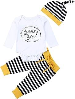 Geagodelia 3tlg Babykleidung Set Baby Jungen Kleidung Langarm Body Strampler  Hose  Mütze Kleinkinder Neugeborene Weiche Warme Babyset