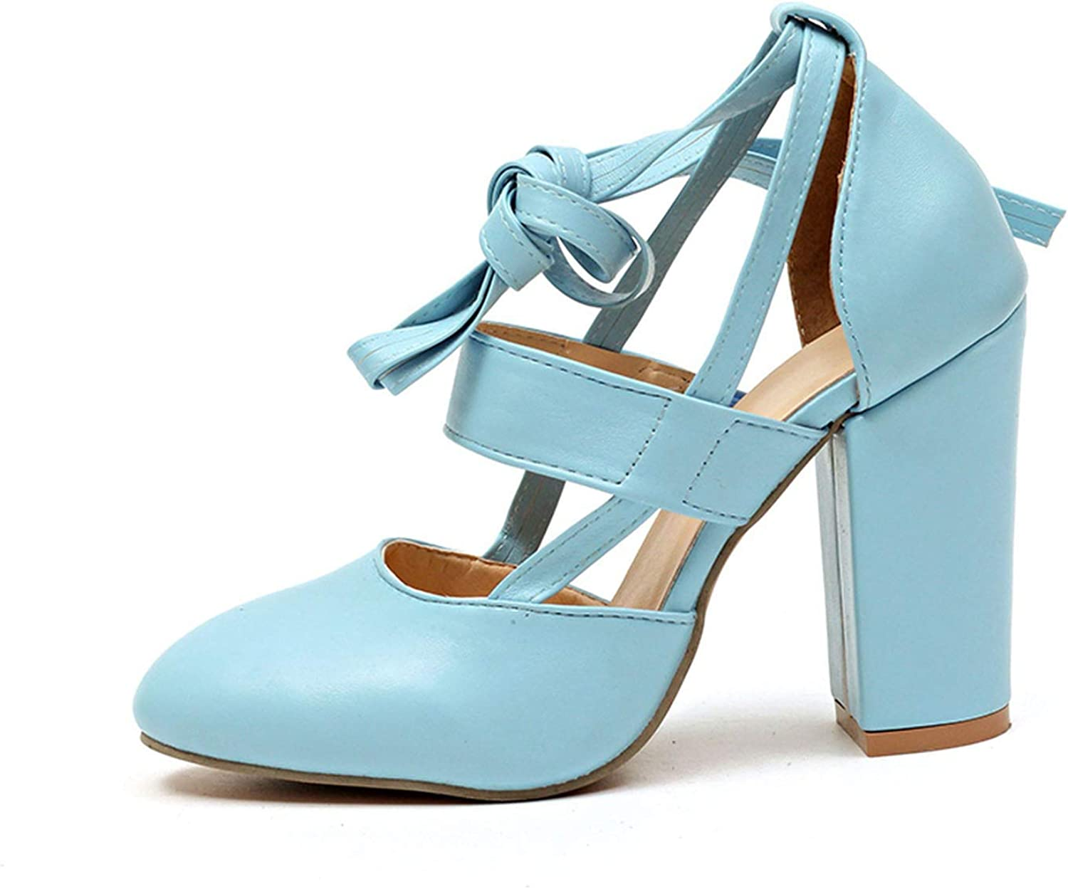 Monica's house Plus Size Female Ankle Strap High Heels shoes Thick Heel for Women Party Wedding,bluee-D2314,6