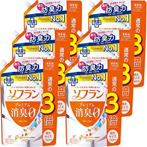 【ケース販売 大容量】ソフラン プレミアム消臭 アロマソープの香り 柔軟剤 詰め替え 特大1260ml×6個セット