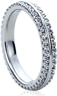 Platinum Plated Sterling Silver 1ct CZ Two Row Pave Setting Eternity Ring Wedding Bands (Size 5 to 9)