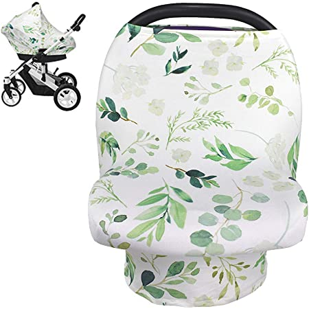 Light heathered aqua cotton knit multi use car seat cover highchair cover nursing cover  breastfeeding cover shopping cart cover
