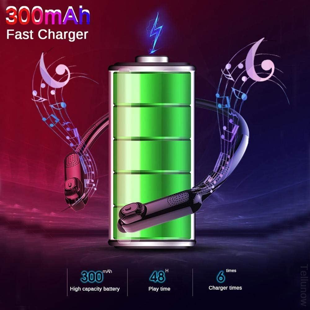 HUAI TWS Bluetooth Earphones Portable Neck Radio HD Stereo Wireless Neckband Headphone Noise Cancelling Game Sport Waterproof Headset (Color : Black) Black