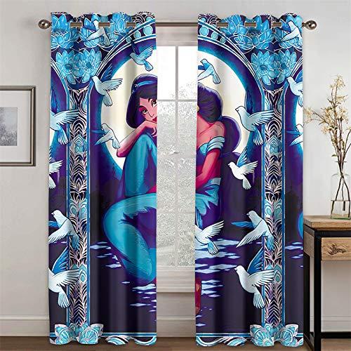 YUNSW Cortinas De Patrón Impreso En 3D Sala De Estar Cocina Dormitorio Cortinas Opacas De Aislamiento Térmico, Juego De 2 Piezas
