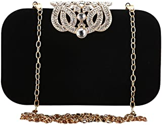 Bestgift Damen Clutch-Handtasche mit Kronenverschluss, Samt