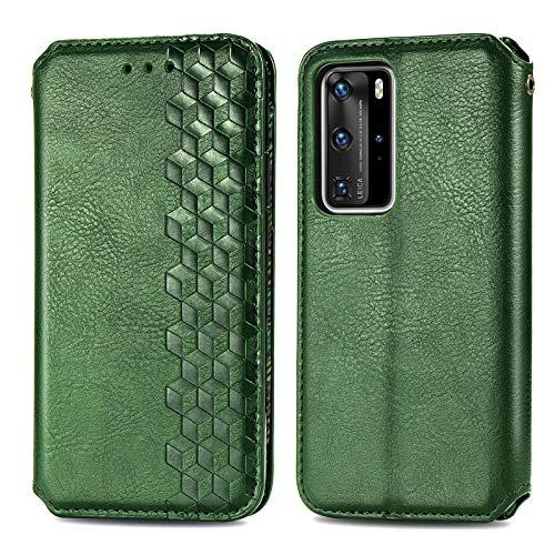 Funda para Huawei P40 Pro, funda de silicona de alta calidad, piel sintética, con tapa, magnética, función atril, billetera, diseño de cocodrilo, de piel con Huawei P40 Pro verde 42
