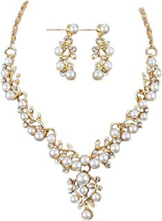 Hand Knotted Glass Imitation Pearls Necklace Bead-Lady Wedding Pearl Rhinestone Short Necklace Earrings Jewelry Set (Gold)