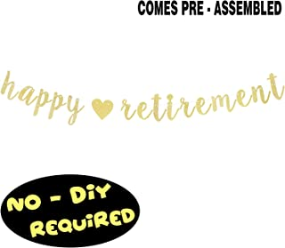 Happy Retirement Gold Glitter Cursive Script Bunting Banner Retirement Farewell Fabulous Party Decoration Table Wall Sign