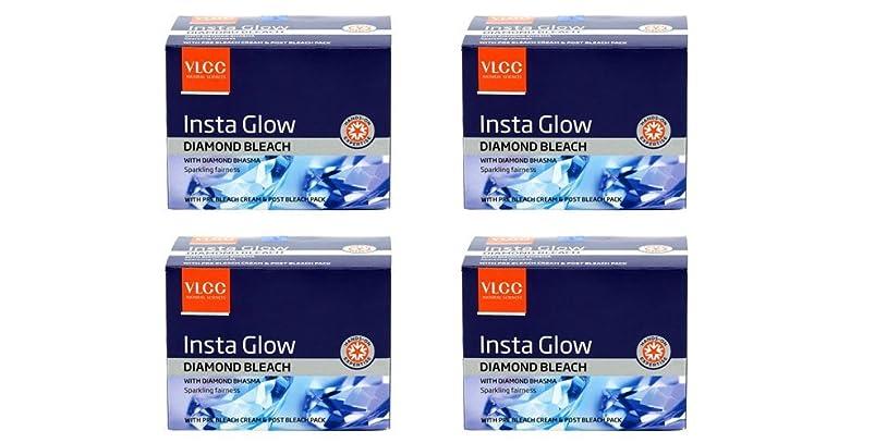 北東私たちプレミアPack of 4 - VLCC Insta Glow Diamond Bleach With diamond bhasma Sparkling fairness With pre bleach cream & post bleach pack - 30g