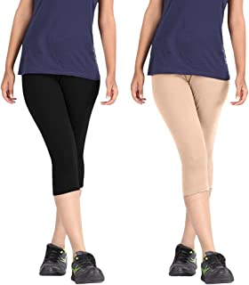 Pixie Women's Solid Color Casual Capri/Above Knee Length Shorts in Combo Pack of 2 - Free Size