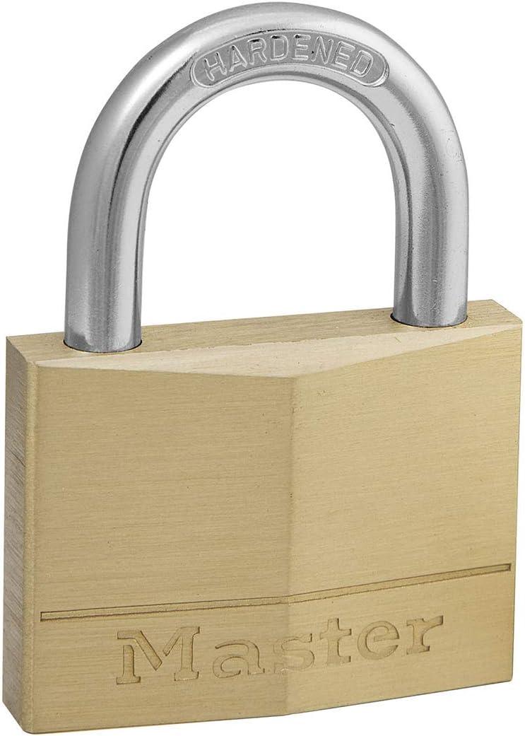 Master Lock 150EURD Candado de Ancho con Cuerpo de Latón Macizo, Dorado, 6.8 x 5 x 1.4 cm