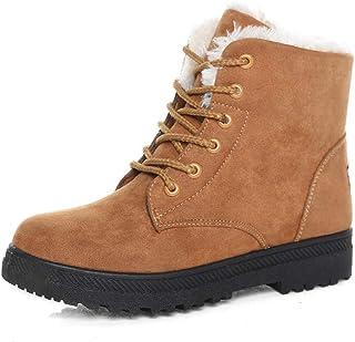 Susanny Suede Flat Platform Sneaker Shoes Plus Velvet Winter Women's Lace Up Cotton Snow Boots Beige Size: 10