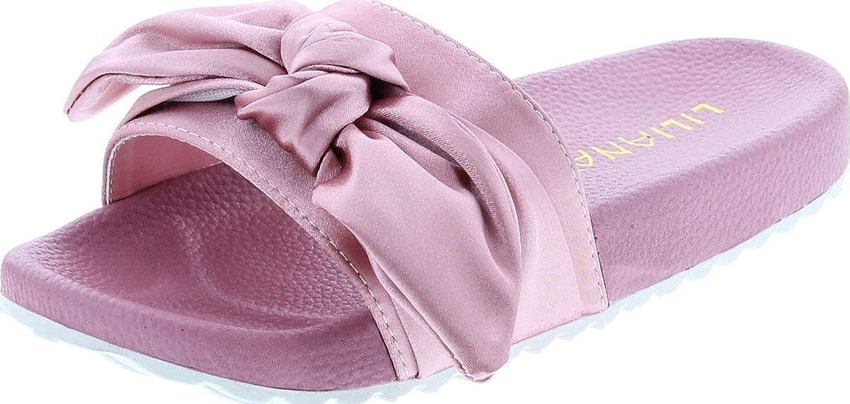 Liliana Nomi-7 Women Flip Flop Bow Satin Slide Slip On Flat Sandal Shoe Slipper