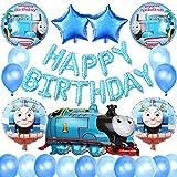誕生日飾り付け 可愛い機関車ト マス ブル  男の子 子供 happy birthdayバル ン ト マスアルミ風船 スタ 風船 ラテックスバル ン 100日お祝い 半歳 一歳誕生日パ ティ 飾り イベント装飾