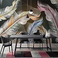 カスタム壁画壁紙北欧ライトラグジュアリー3Dフェザー幾何学的壁画リビングルームテレビソファ寝室の壁紙-200Cm×140Cm