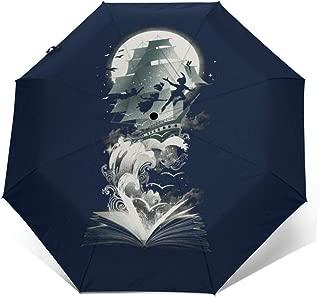 Peter Pan Neverland Captain Hook Ship Windproof Compact Auto Open And Close Folding Umbrella,Automatic Foldable Travel Parasol Umbrella