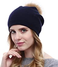 VEMOLLA Ladies Knitted Crystal Winter Bobble Wool Beanie Hat Cap with Detachable Fur Pompom for Women Navy