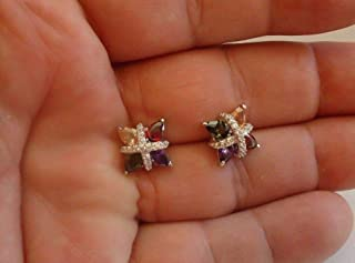 Ladies 925 Sterling Silver Multi-Color Stud Earrings W 12 CT Amethyst Diamond WG-918