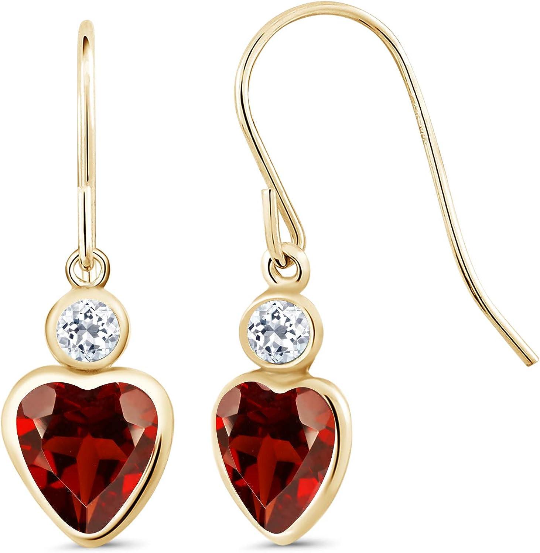 2.08 Ct Heart Shape Red Garnet White Topaz 14K Yellow gold Earrings