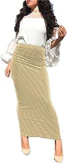 Mfacisa Las Mujeres Musulmanas Cintura Elastica Tobillo - Longitud de Falda lápiz Bodycon Knited