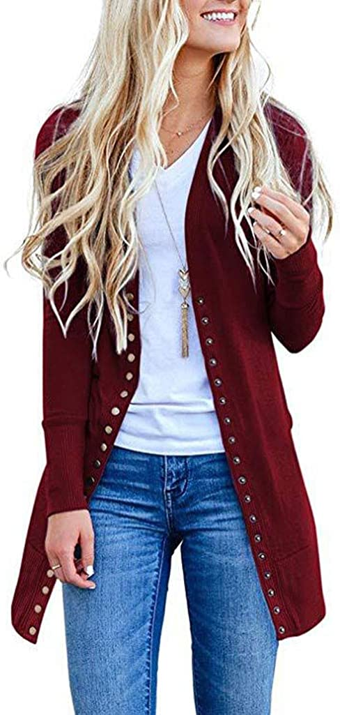 AODONG Cardigan for Women Lightweight Long Open Front Cardigan Long Sleeves Knitted Sweater Outerwear