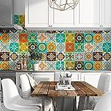 72 (Piezas) Adhesivo para Azulejos 10x10 cm - PS00190 - Ortigia - Adhesivo Decorativo para Azulejos para baño y Cocina - Stickers Azulejos - Collage de Azulejos