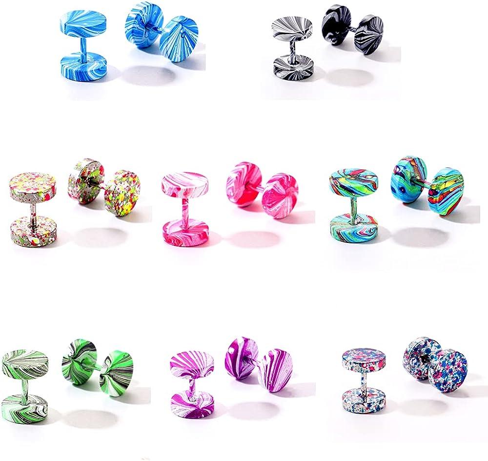 8 Pairs Faux Gauge Earrings Stainless Steel Stud Earrings Cheater Fake Ear Plugs Gauges Tunnel for Men Women