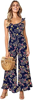 Women Jumpsuits Rompers Sexy Sleeveless Ruffle Shoulder Floral Long Pants Suit