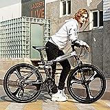 MENG Bicicleta de Montaña Plegable 21/24/27 Velocidad Dual Disco Freno 26 Ruedas Suspensión Tenedor Bicicleta de Montaña para Niños Niñas Hombres Y Mujeres (Tamaño: 24 Velocidad, Color: Blanco)/Blanc