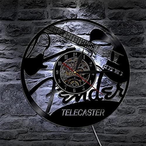 Nzlazbc Guitarra eléctrica Arte de Pared Reloj LED Instrumentos Musicales Disco de...