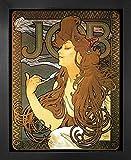 1art1 Alphonse Mucha Poster Reproduction et Cadre (MDF) - Job, 1896 (50 x 40cm)