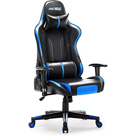 ANBEGE Gaming Chair Ergonomic Racing Style Game Chair Height Adjustable High Back with Massage Headrest and Lumbar Pillow Computer Chair (Blue)