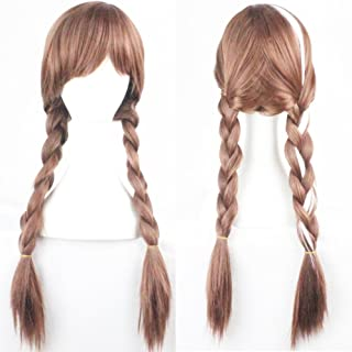 Anna Wig for Frozen Costumes Play and 1 Wig Cap, Brown Double Braid Hair Cosplay Wigs for Daily/Cosplay/Party/Fun, Comfortable/Breathable/Durable Rose Net; wig019A