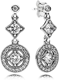 Vintage Allure Drop Earrings With Clear Cubic Zirconia 290722CZ